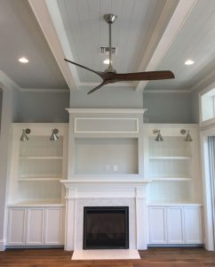 Custom Wall Unit - Built Around Fireplace - Shaker Style Doors - Ship Lap Backing - Built In Lighting - Painted White Finish - 002