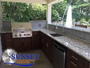 Outdoor Kitchen Cabinets - African Mahogany Doors and Panels with Espresso Stain - Sunset Custom Cabinetry and Woodwork - Fort Myers Florida
