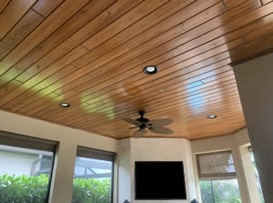 Tongue and Grove Wood Ceiling Installers - Fort Myers Florida - Sunset Custom Cabinetry and Woodwork - 239-771-8652