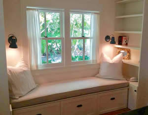 White Window Seat - Custom Furniture - Fort Myers Florida - Sunset Custom Cabinetry and Woodwork - 300 x 232
